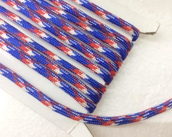 1.1 Yards (1 meter) blue red and white Bracelet cord,  Decorative Cord, braided cords, Parachute Round Cord, Colorful cord, parcord 4mm wide
