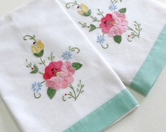Vintage Tea Towels w Embroidery and Appliques, Mint Green Trim, Set of Two, Cottage Chic Home Decor, Vintage Linens by TheSweetBasilShoppe