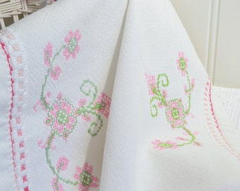 "Cross stitch tablecloth, vintage Swedish embroidery,  pink and green stitches, white linen, 23"" x 17 """