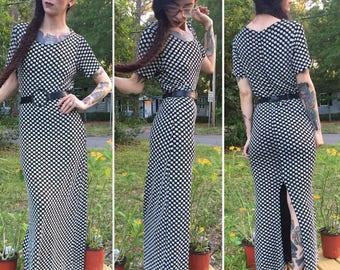 Vintage 90's long Daisy Chain Dress back slit s m grunge stretchy