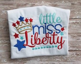 Little miss liberty 4th of July shirt
