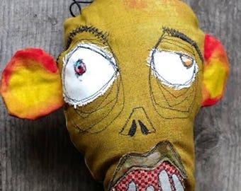 Howard, the Zombie handmade art monster doll