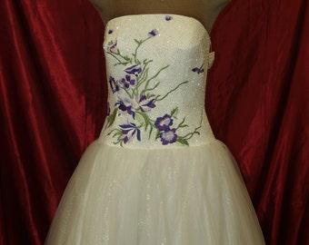 Purple Flowers Prom Vintage Dress size 10,strapless dress purple flowers beaded bodice white skirt, prom,XV dress,White Purple Wedding Dress