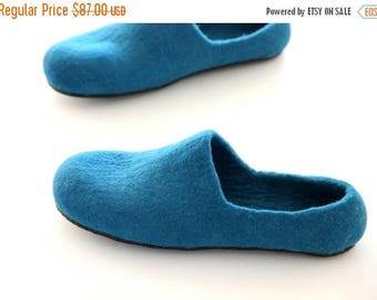 Father's day gift men slippers wool house shoes felted home slippers gift for Dad emerald green felt shoes wool clogs handmade felt slippers