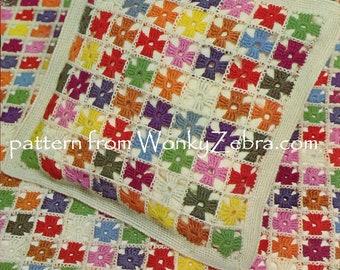 Crochet baby blanket crochet squares pattern cushion pattern cot blanket babys room nursery décor Vintage Crochet PDF B132 - WonkyZebraBaby