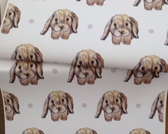 Rabbit, wrapping paper, gift wrap, for rabbit lovers, lop eared rabbit, cute, fluffy, read description