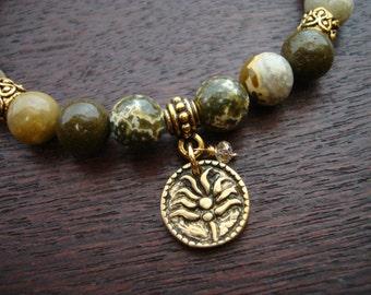Women's Champagne Diamond Lotus Mala Bracelet // Or Choose a Birthstone // Crown Chakra, April Birthstone, Prayer Beads, Yoga Jewelry