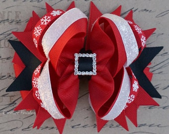 Christmas Hair Bow, Large Red and White Holiday Bow