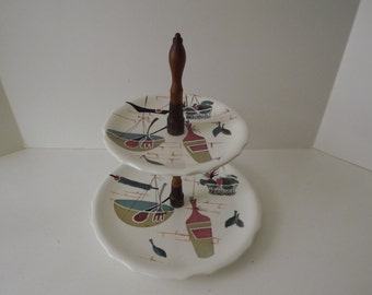 Mid-Century 2 Tier Cake Stand, Patio Pattern, Hand Painted, Teak & Metal Stand, Retro Serving, Circa 1954-1966