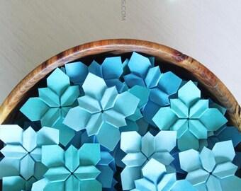 100 blue shades wedding petals | table decorations | wedding flowers | origami flowers | paper flowers || paper petals