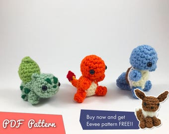 SALE - PDF Pattern for Pokemon Starters Amigurumi Kawaii Keychain Miniature Doll Plush