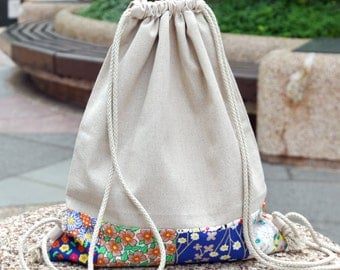 Drawstring backpack/ Drawstring bag/ gym bag ~ Foral pattern (B77)