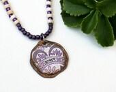 Mixed Media Necklace Mixed Media Jewelry Purple Bead Necklace Seed Bead Short Grace Pendant Necklace Hippie Seed Bead Necklace