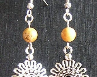 Natural Picture Jasper and Crystal Chandelier Earrings with Stainless Steel Hooks