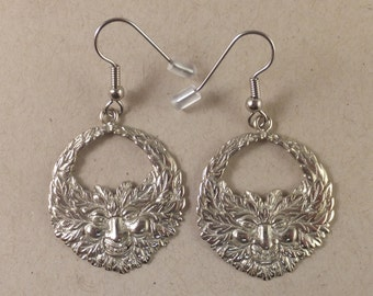 Fantastic GREEN MAN Earrings! Silver-toned White Brass, FREE Shipping, gift box.