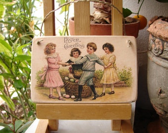 Victorian style, Easter Greeting image, Chidren dancing around hen with eggs, Spring wooden tag with string loop