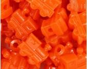 100 Orange Train Beads