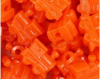 25 Orange Train Beads