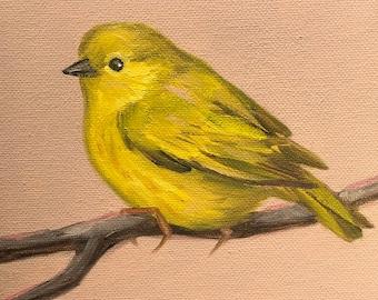 Original Oil Painting Little Yellow Warbler