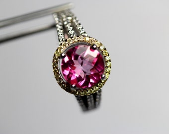 Spectacular Genuine Pink Topaz  Oval in Sterling Accented Ring