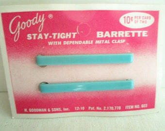 2 Goody Jadeite Green Barrettes on Original Card Unused