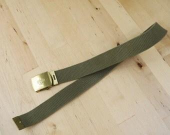 Vintage Boy Scouts of America BSA Cub Scouts Webelos Green Brass Belt and Belt Buckle Child's Size