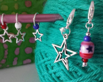 Star Theme Knitting Stitch Markers-Set of 5-Progress Keeper-Star Stitch Markers Fits to US10-America*USA*Patriotic*Red/White/Blue*Stars