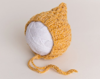 Newborn Baby hat yellow knit ready to ship Photography Prop RTS