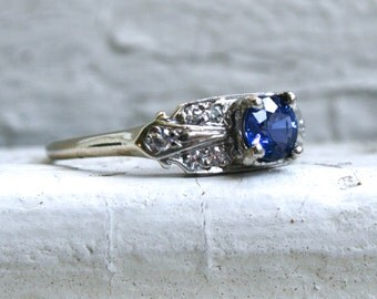 RESERVED - Pretty Vintage Art Deco 14K White Gold Sapphire and Diamond Engagement Ring - 1.10ct.
