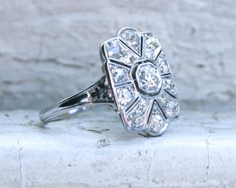 RESERVED - Vintage Filigree Platinum Diamond Cluster Engagement Ring - 0.90ct.