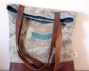 Abstract print tote bag, leather handles, leather chevron shopper, market bag, everyday bag, book bag. Ready to ship