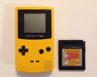 Yellow Gameboy Color with Zelda Links Awakening