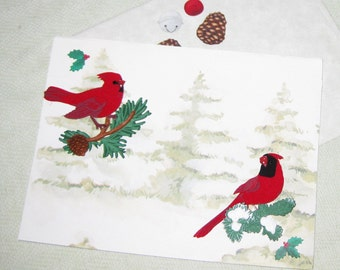 Cardinal Christmas or Yule Handmade Card - Handmade Cards