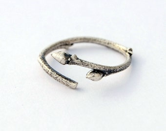 Blueberry twig and buds ring - sterling silver branch ring