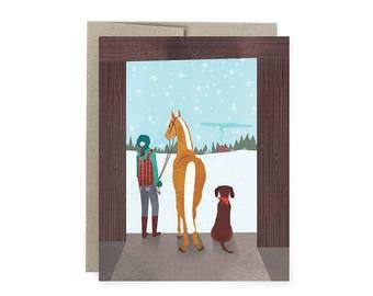 Horse Barn Dog Christmas Holiday Greeting Card