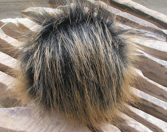 Vegan Faux Fur Pom Pom , Handmade,Black Brown