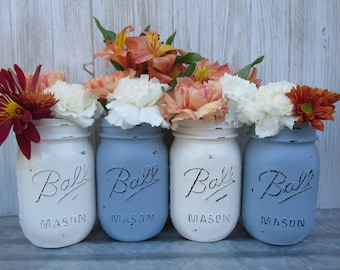 Painted and Distressed Ball Mason Jars- Slate Dusty Blue and Cream/White/Ivory-Flower Vases, Rustic Wedding, Centerpieces