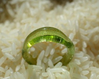 Sparkly Green Glass Ring with UV Accents