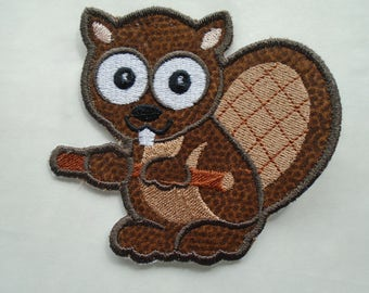 Wide eyed Forest Friends Beaver iron on or sew on applique patch