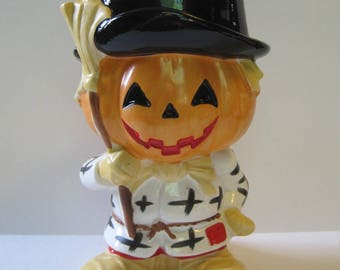Vintage Relpo Jack O' Lantern - Halloween Planter - Vase