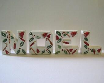 Vintage NOEL letters - bells, candy canes, holly - Japan