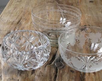 3 x crystal small bowls