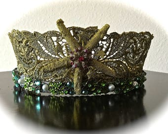 Victorian Style Mermaid Gold Lace Jeweled Crown