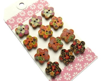 On Sale ON SALE 12 x 18mm Wooden Buttons - 18mm 2-hole Flower Shaped Buttons