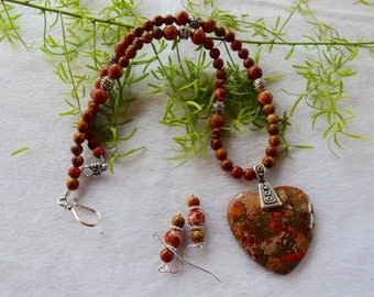 18 Inch Orange Sea Sediment or Imperial Jasper Heart Pendant Necklace with Earrings