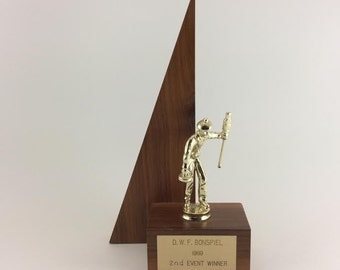 Curling Trophy Mid-Century Curling Trophy Wood Trophy 1969 Bonspiel Trophy
