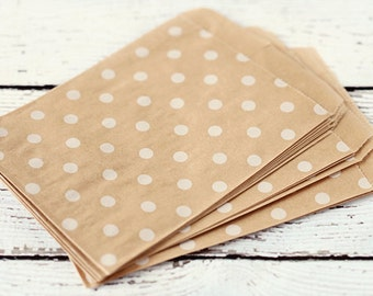 10 Flat Kraft Polka Dot Merchandise Bags. Paper Bags. White Washed Gift Bags. Supplies. 4x5-3/8 Bags