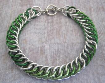 Green Light Bracelet Chain Maille Aluminum Jewelry