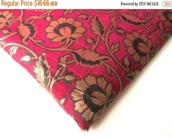 ON SALE Pink black gold branches flowers silk brocade India fabric nr 120 REMNANT