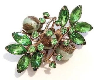 Green Lucite Cabochon Brooch, Glass Navettes, Flower, Art Deco // Retro 1940s Vintage Jewelry, SPRING SALE